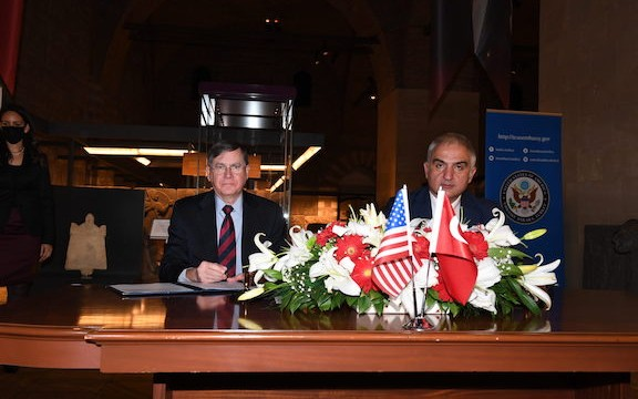 U.S. Ambassador to the Republic of Turkey David Satterfield and Turkish Minister of Culture and Tourism Mehmet Ersoy signed the disastrous bilateral agreement on cultural property which grants Turkey legal rights over the vast religious-cultural heritage of the region's indigenous peoples and other minority populations. Photo Credit: US Embassy in Turkey