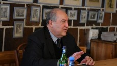 President Armen Sarkissian speaks to residents in Gyumri on Dec. 25