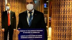 Leader of the opposition Bright Armenia Party Edmon Marukyan holds protest at PACE session in Strasbourg, France on Jan. 25