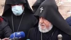 Catholicos Karkin II speaks to reporters outside of Yerablur National Cemetery on Jan. 28