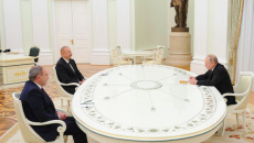 Prime Minister Nikol Pashinyan, (Left) with Azerbaijani President Ilham Aliyev and his Russian counterpart Vladmir Putin in Moscow on Jan. 11