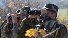 Armenian military officials at a border post in Syunik (Defense Ministry photo)