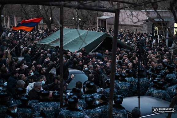 Protesters clash with police as they blocked Armenia's parliament building on March 9