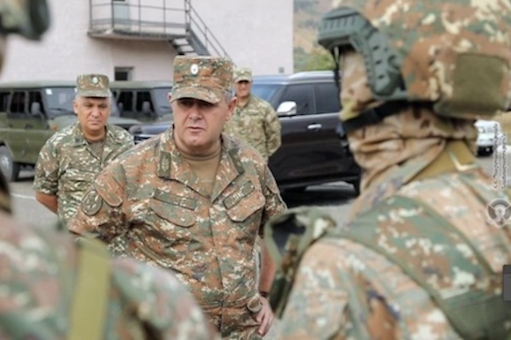 Lieutenant-General Artak Davtyan in Syunik Province (Defense Ministry photo)