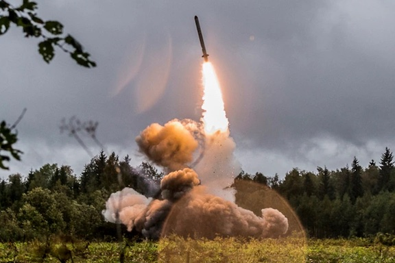 An Iskander missile at a military exercise in St. Petersburg, Russia in 2017 (Russian Defense Ministry photo)