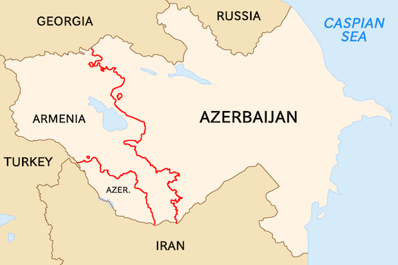 The Soviet Armenia and Azerbaijan borders
