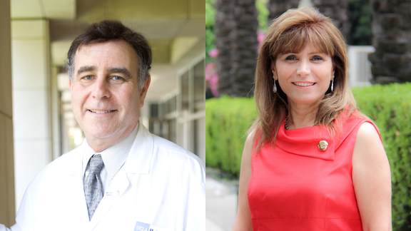 Dr. Wayne Grody (left), MD, PhD, professor in the departments of Pathology & Laboratory Medicine, Pediatrics and Human Genetics at the UCLA David Geffen School of Medicine, and Salpy Akaragian (right), PhD, RN, director emeritus, UCLA Health. (Photos provided by Drs. Grody and Akaragian.)