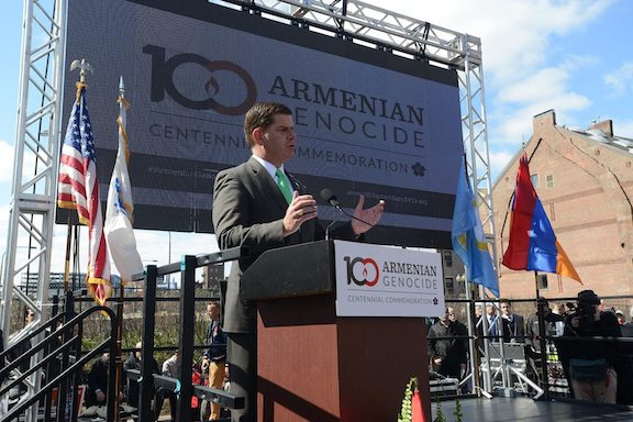 Boston Mayor Marty Walsh pictured during his formal remarks at the centennial commemoration of the Armenian Genocide at Armenian Heritage Park, April 2015 (Photo: Isabel Leon from the office of Marty Walsh/City of Boston/Facebook)