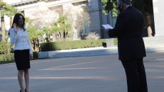 Sen. Anthony Portantino administers the attorney oath to Anahit Sargsyan
