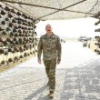 "Azerbaijani President Ilham Aliyev strolls into the ""Military Trophies Park"" on April 12"