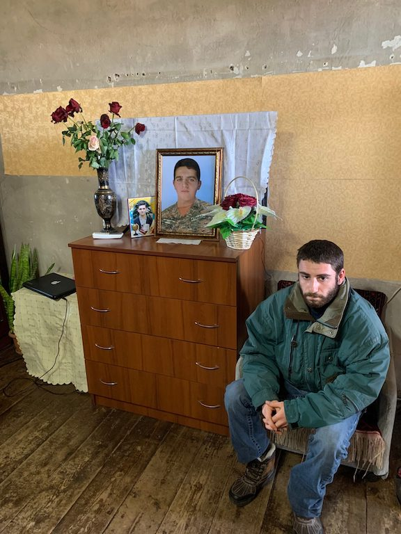 The author, Razmig Makasdjian, at the home of a fallen soldier