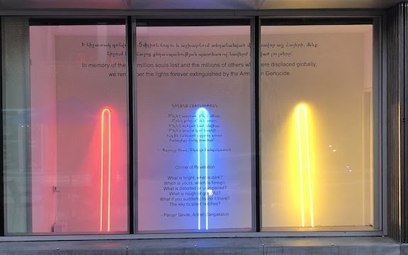 The Museum of Neon Art honors the victims of the Armenian Genocide in a neon display